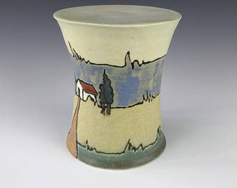 Craftsman Pillar Candle Holder by Taira Wiggins | Sweet Earth Pottery | SEG | Cuerda Seca