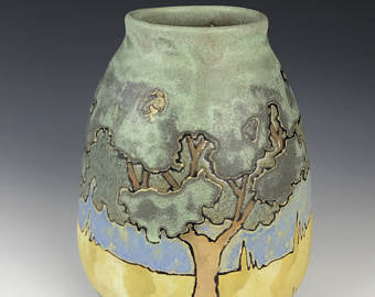 SOLD | Craftsman Matte Trees with Sunrise | Contemporary Arts & Crafts Mission SEG Style | Craftsman | Taira Wiggins | Sweet Earth Pottery