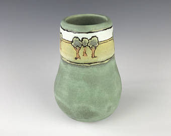 Trees on Green Matte | Contemporary Arts & Crafts Mission SEG Style | Craftsman | Taira Wiggins | Sweet Earth Pottery