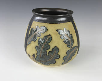 SOLD | Acorns and Oak Leaves | Contemporary Arts & Crafts Mission SEG Style |Craftsman | Taira Wiggins | Sweet Earth Pottery