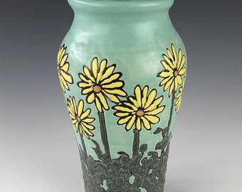 Daisies in Yellow | Contemporary Arts & Crafts Mission SEG Style | Taira Wiggins | Sweet Earth Pottery