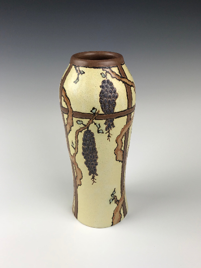 SOLD A Wisteria Vase | Contemporary Arts & Crafts Mission SEG Style |Craftsman | Taira Wiggins | Sweet Earth Pottery