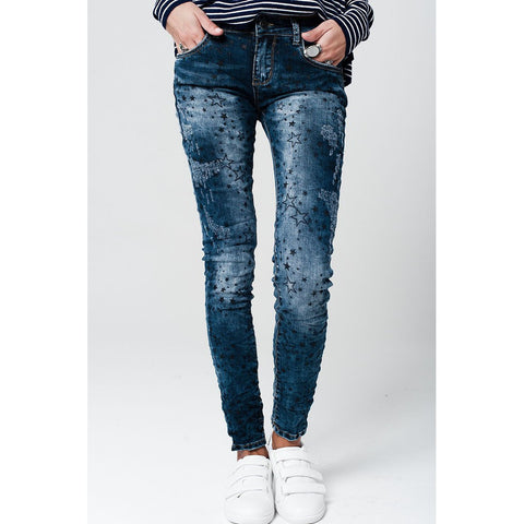 Dark washed jeans with distressed star details