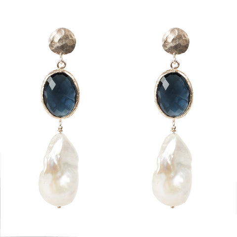 Hydra Baroque Pearl and Sapphire Hydro Earring Rosegold