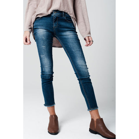 Distressed skinny jeans with frayed edges at hems Women - Apparel - Denim - Jeans - prettyShe Online Fashion Boutique for Women