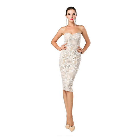 Strapless Beige Cocktail Dress Women - Apparel - Dresses - Cocktail - prettyShe Online Fashion Boutique for Women