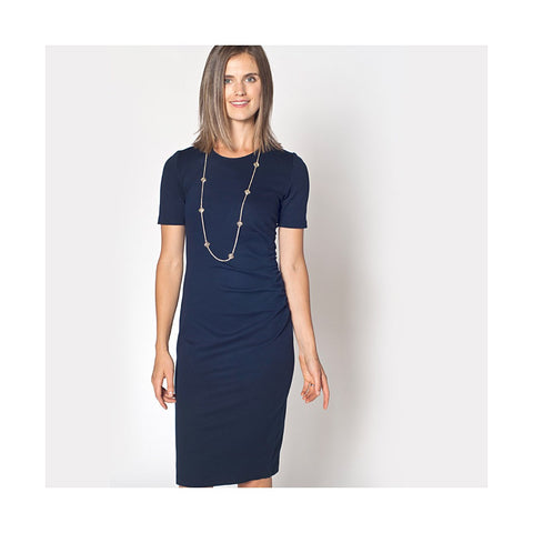 Navy Ponte Megan Midi Pencil Dress Women - Apparel - Dresses - Day to Night - prettyShe Online Fashion Boutique for Women