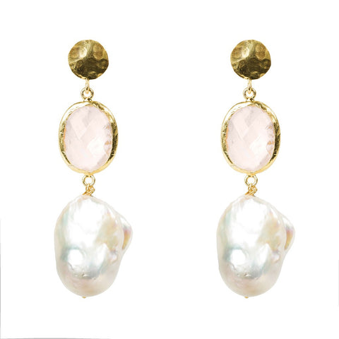 Hydra Baroque Pearl and Rose Quartz Hydro Earring Gold