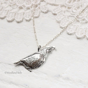 Quail Necklace - Bronze California Quail Bird Pendant - Bird Lover Gift for Her, by Woodland Belle