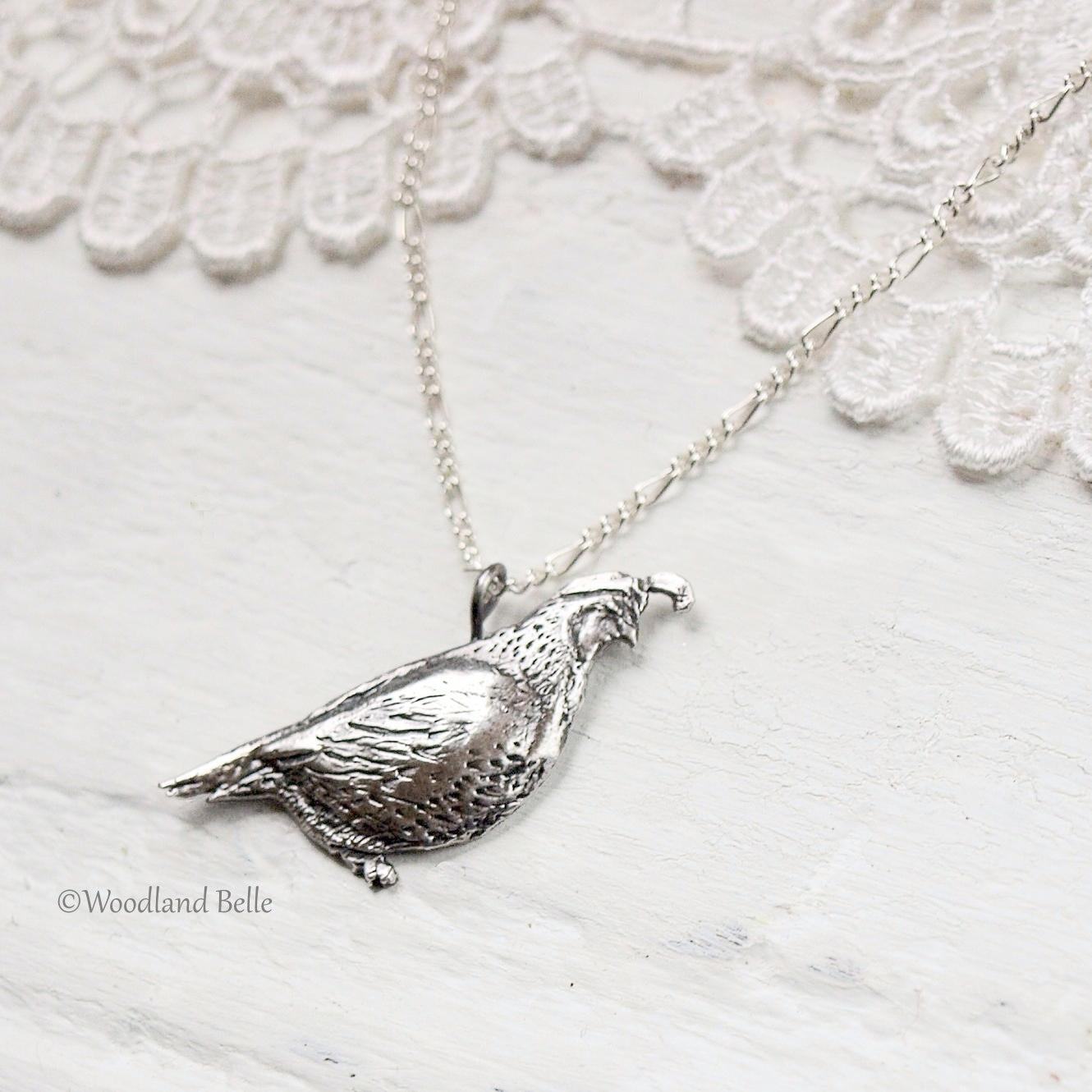 Quail Necklace - Sterling Silver California Quail Bird Pendant - Bird Lover Gift for Her, by Woodland Belle