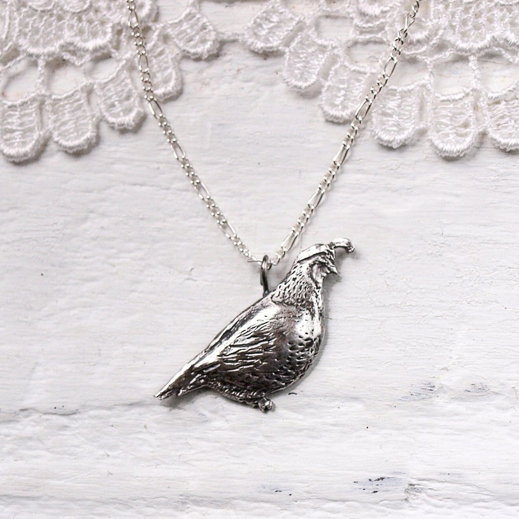 Sterling Silver California Quail Necklace by Woodland Belle