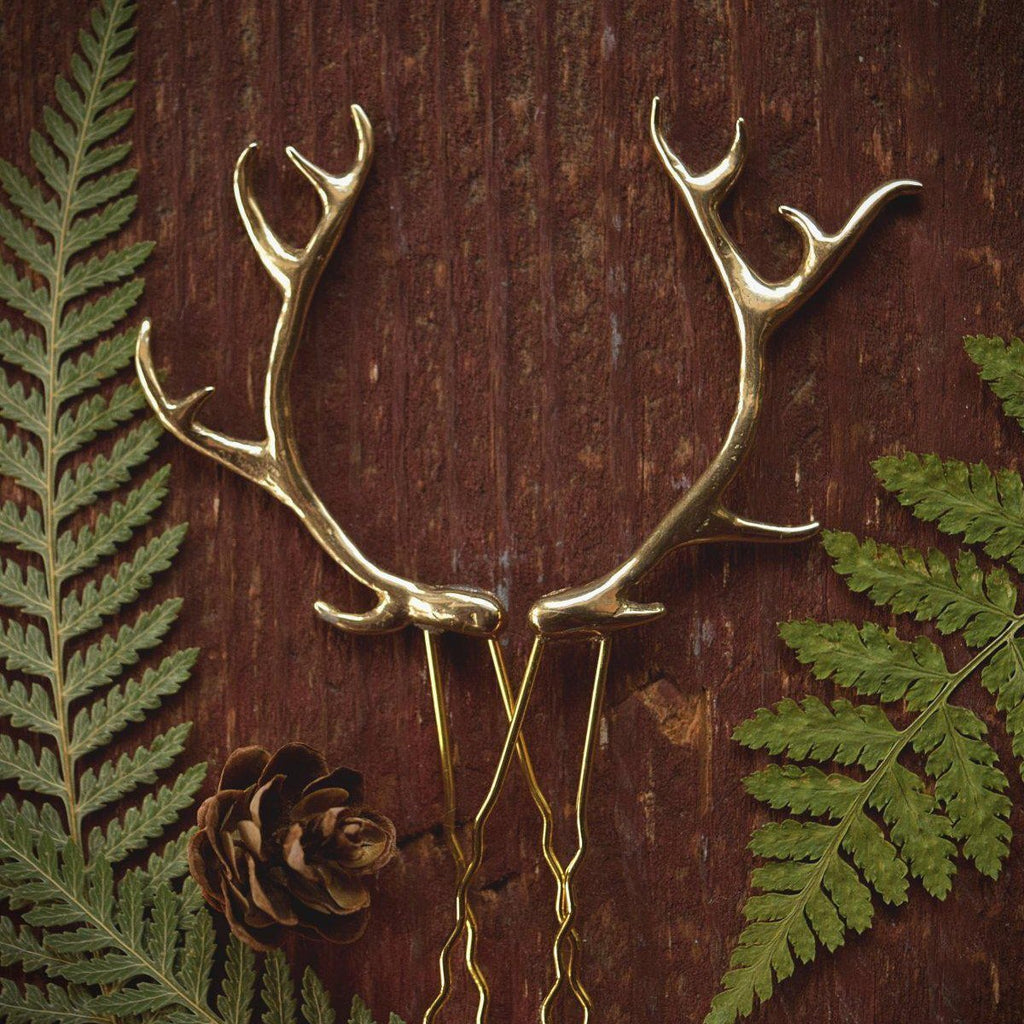 Antler Hair Pins - Gold Bronze Metal Antler Hair Sticks - Mori Forest Girl - For LARP, Cosplay, Renaissance Festival - by Woodland Belle