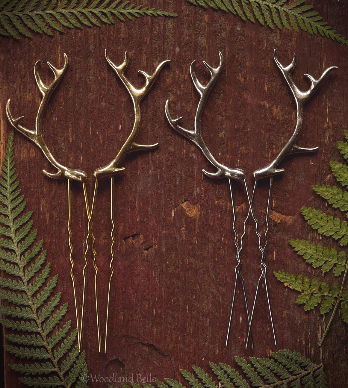 Antler Hair Pins - Silver Bronze Metal Antler Hair Sticks - Mori Forest Girl - For LARP, Cosplay, Renaissance Festival - by Woodland Belle