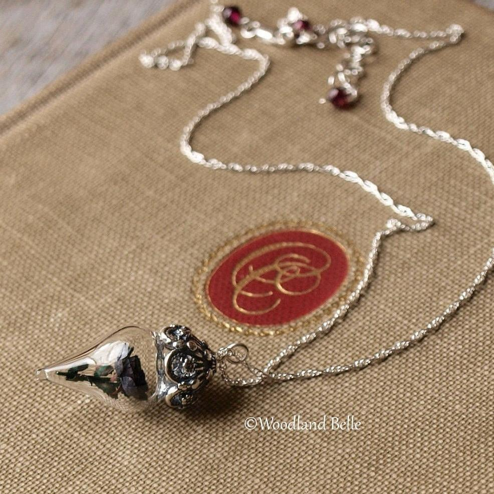 Black Rose Necklace - Glass Flower Pendant - Sterling Silver/Rose Gold/Gold - Choker Necklace, Gothic Lolita Steampunk - by Woodland Belle