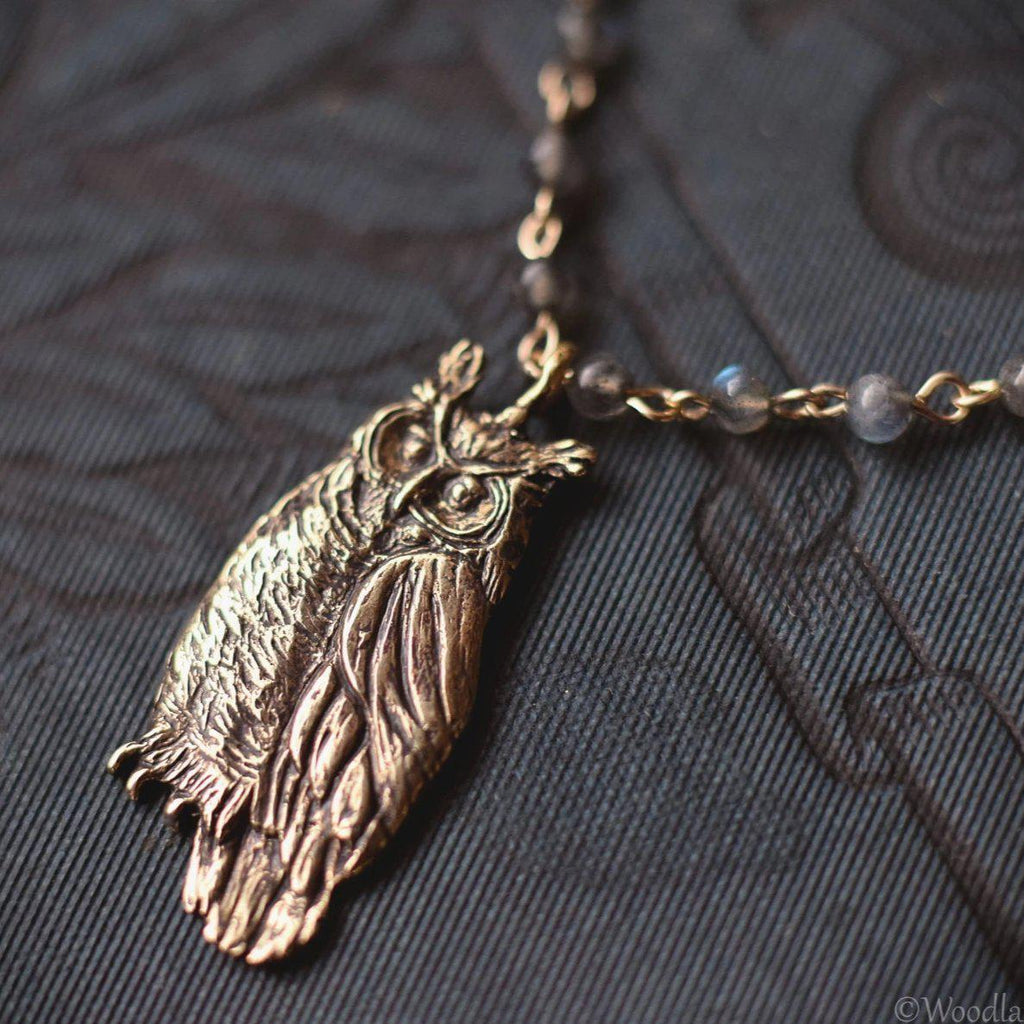 Bronze Owl Necklace - Great Horned Owl Pendant on Labradorite Chain - One of a Kind - Mori Forest Girl Necklace - by Woodland Belle