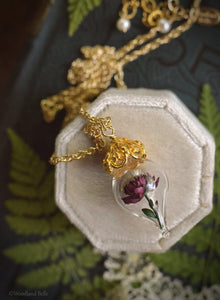 Burgundy Peony Necklace - Gold Glass Flower Pendant -Personalized Gift- Wife, Anniversary- Gold/Sterling Silver/Rose Gold -By Woodland Belle