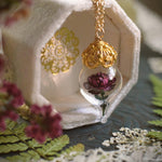 Load image into Gallery viewer, Burgundy Peony Necklace - Gold Glass Flower Pendant -Personalized Gift- Wife, Anniversary- Gold/Sterling Silver/Rose Gold -By Woodland Belle