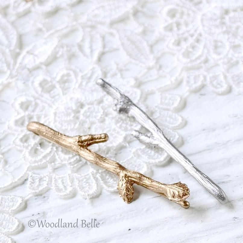 Custom Set of 2 Twig Hair Pins - Branch Bobby Pins - Mix & Match Silver, Gold, Rose Gold, or Bronze - By Woodland Belle