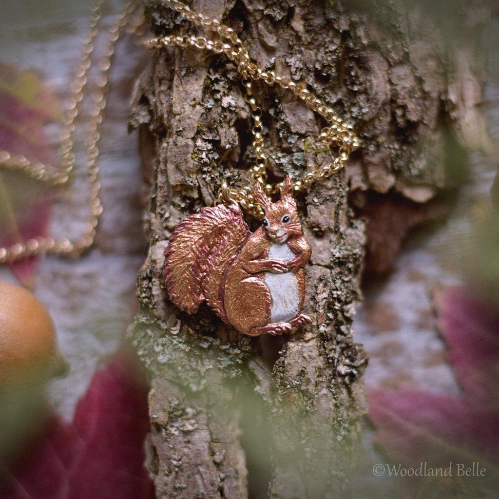 Enameled Red Squirrel Necklace - Bronze Squirrel Pendant - Small Animal Charm Jewelry - Squirrel Lover Gift, Cottagecore - by Woodland Belle