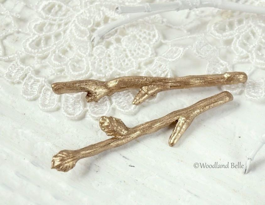 Gold Branch Bobby Pins - Tiny Twig Hair Pins in Golden Bronze - Twig Hair Clips - Gift Under 30 - Mori Girl Style - by Woodland Belle