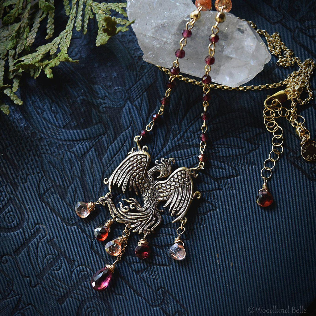 Gold Bronze Phoenix Necklace with Gemstones - Phoenix Rising Pendant - Firebird Necklace - Phoenix Bird Jewelry - Garnet & Sunstone