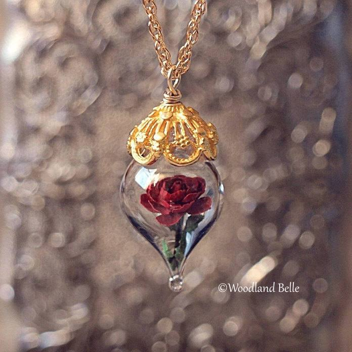 Gold Red Rose Necklace - Glass Flower Pendant - Personalized Gift, Initials - Beauty & the Beast - Anniversary Wife Gift, by Woodland Belle