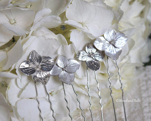 Hydrangea Blossoms, Pearl Ivory Sterling Silver Flower Bridal Wedding Hair Pins by Woodland Belle - Set of 3 U Pins Small and Large Blossoms