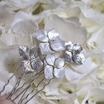 Load image into Gallery viewer, Hydrangea Blossoms, Pearl Ivory Sterling Silver Flower Bridal Wedding Hair Pins by Woodland Belle - Set of 3 U Pins Small and Large Blossoms