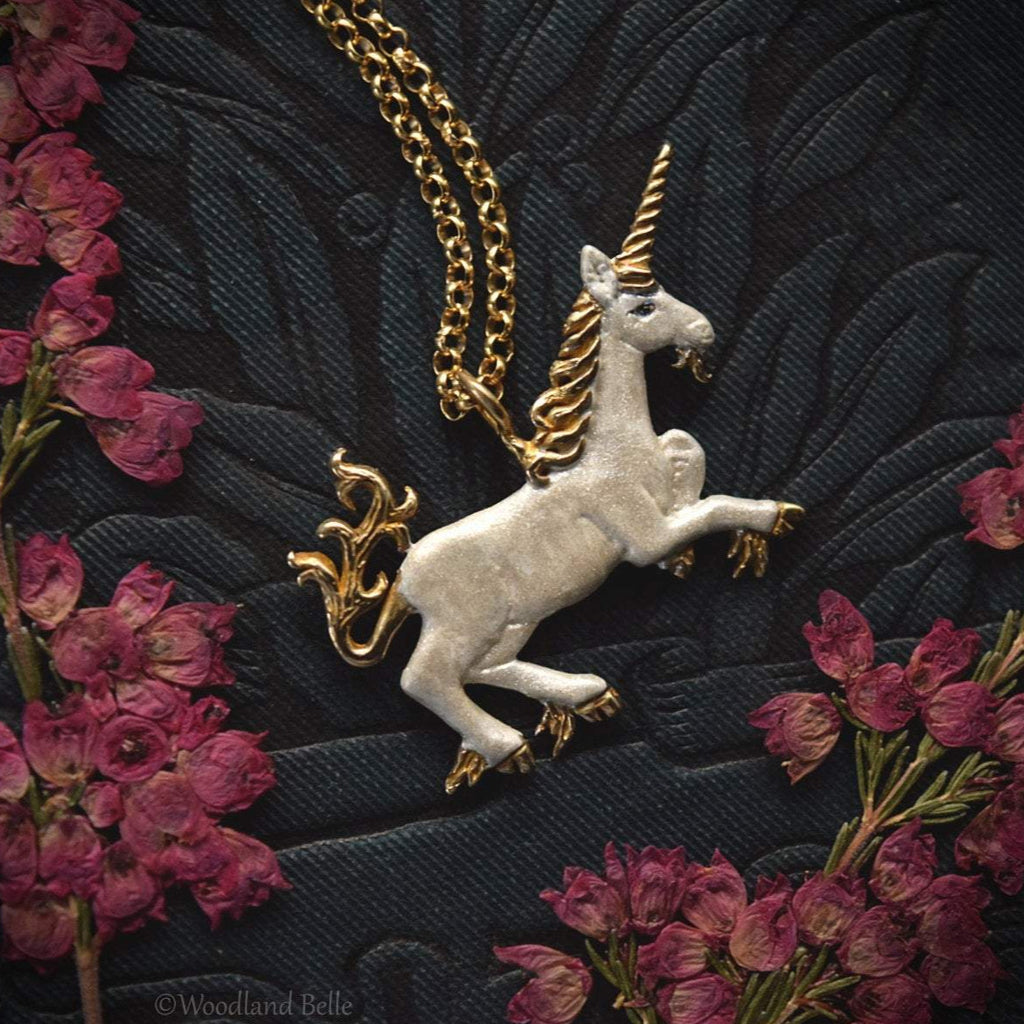 White Enameled Unicorn Necklace - Gold Bronze Unicorn Pendant - Small Dainty Charm Necklace - Unicorn Lover Gift - by Woodland Belle-Woodland Belle