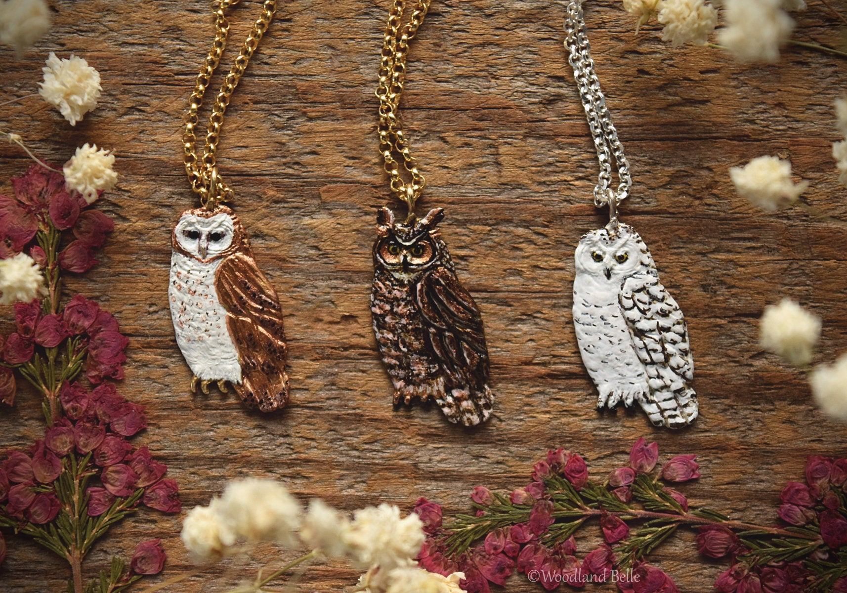 Owl Necklace - Enameled Barn Owl Pendant - Bronze Metal Painted Owl Charm Necklace - Bird/Owl Lover Jewelry Gift - by Woodland Belle-Woodland Belle