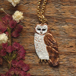 Load image into Gallery viewer, Owl Necklace - Enameled Barn Owl Pendant - Bronze Metal Painted Owl Charm Necklace - Bird/Owl Lover Jewelry Gift - by Woodland Belle-Woodland Belle
