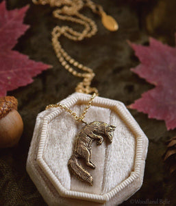 Leaping Fox Necklace - Gold Bronze Jumping Fox Pendant - Small, Dainty Fox Charm - Animal Necklace, Fox Lover Gift - by Woodland Belle