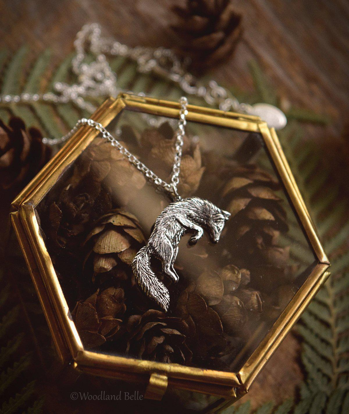 Leaping Fox Necklace - Sterling Silver Jumping Fox Pendant, Recycled - Small Animal Charm Jewelry - Fox Lover Gift - by Woodland Belle