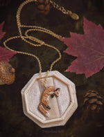 Load image into Gallery viewer, Leaping Red Fox Necklace - Enameled Bronze Jumping Fox Pendant - Small Animal Charm Jewelry- Fox Lover Gift, Cottagecore - by Woodland Belle