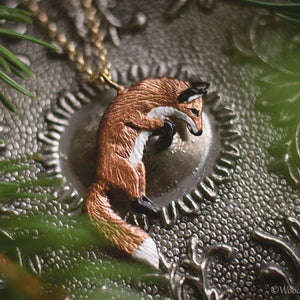 Leaping Red Fox Necklace - Enameled Bronze Jumping Fox Pendant - Small Animal Charm Jewelry- Fox Lover Gift, Cottagecore - by Woodland Belle