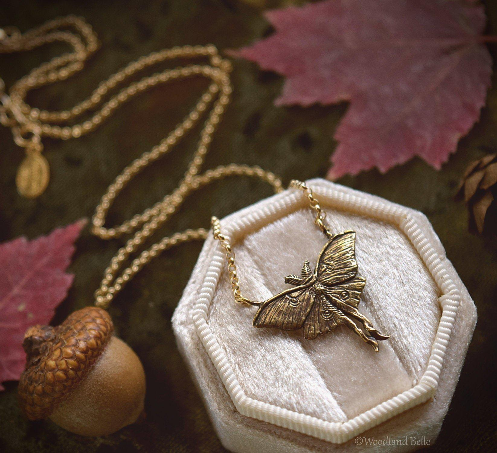 Luna Moth Necklace - Gold Bronze Moon Moth Pendant - Small, Dainty Luna Moth Charm - Jewelry Gift for Moth Lover - by Woodland Belle