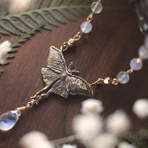 Luna Moth Necklace, Gold Bronze & Rainbow Moonstone Gemstone Beads - Small Luna Moth Pendant - Moth Lover Jewelry Gift by Woodland Belle