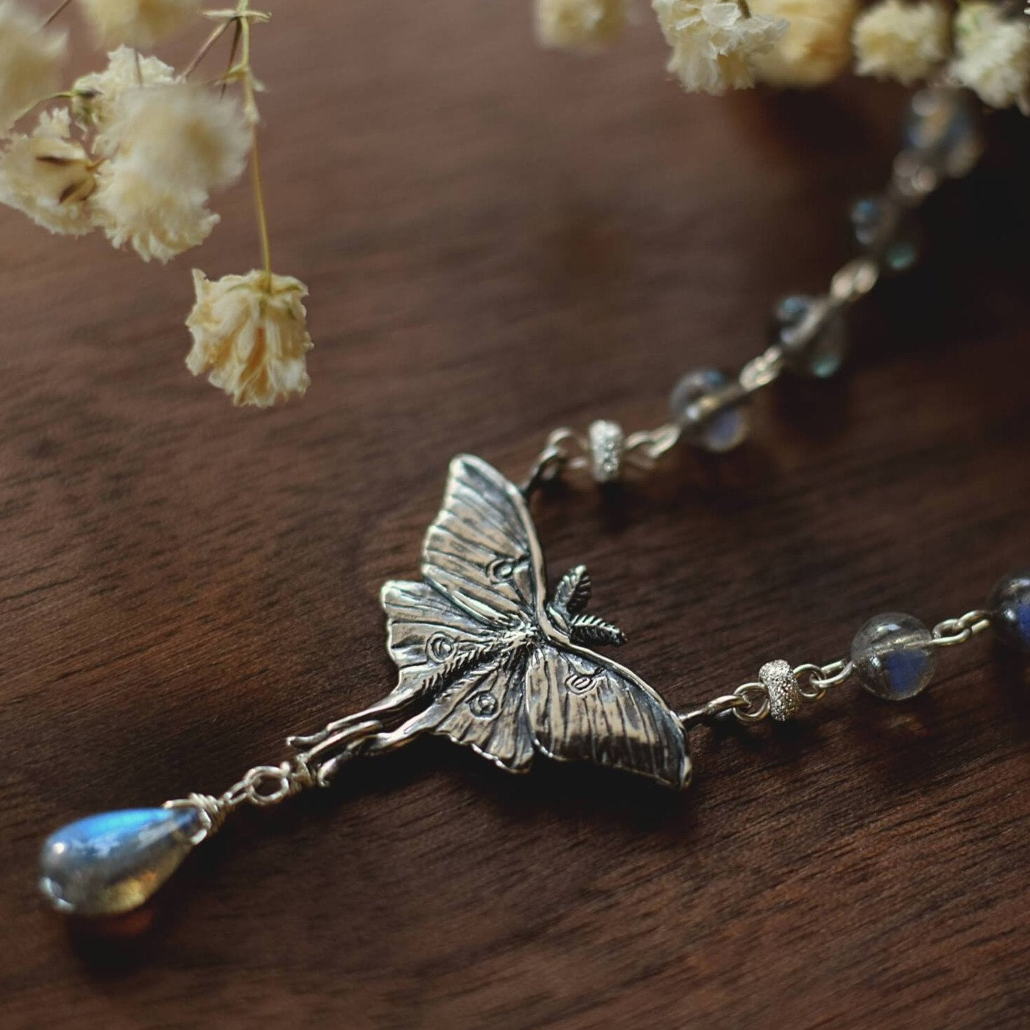 Luna Moth Necklace, Sterling Silver & Labradorite Gemstone Beads - Moon Moth Pendant, Recycled - Moth Lover Jewelry Gift by Woodland Belle