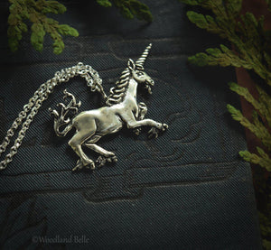 Medieval Unicorn Necklace - Gold Bronze Unicorn Pendant - Small Dainty Charm Necklace - Unicorn Lover Gift - by Woodland Belle