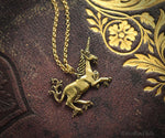 Load image into Gallery viewer, Medieval Unicorn Necklace - Sterling Silver Unicorn Pendant, Recycled - Small Dainty Charm Necklace - Unicorn Lover Gift - by Woodland Belle