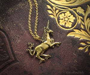 Medieval Unicorn Necklace - Sterling Silver Unicorn Pendant, Recycled - Small Dainty Charm Necklace - Unicorn Lover Gift - by Woodland Belle