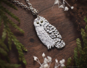 Owl Necklace - Enameled Snowy Owl Pendant - Sterling Silver White Owl - Hedwig Necklace - Bird/Owl Lover Jewelry Gift - by Woodland Belle