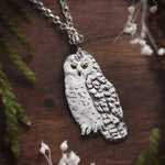 Load image into Gallery viewer, Owl Necklace - Enameled Snowy Owl Pendant - Sterling Silver White Owl - Hedwig Necklace - Bird/Owl Lover Jewelry Gift - by Woodland Belle