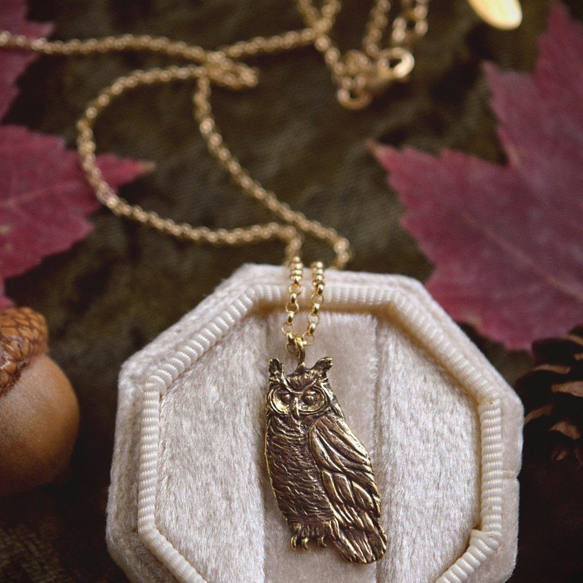 Owl Necklace - Gold Bronze Great Horned Owl Pendant - Small, Dainty Bird Necklace - Owl Lover Gift - Cottagecore, Mori Girl - Woodland Belle