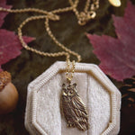 Load image into Gallery viewer, Owl Necklace - Gold Bronze Great Horned Owl Pendant - Small, Dainty Bird Necklace - Owl Lover Gift - Cottagecore, Mori Girl - Woodland Belle