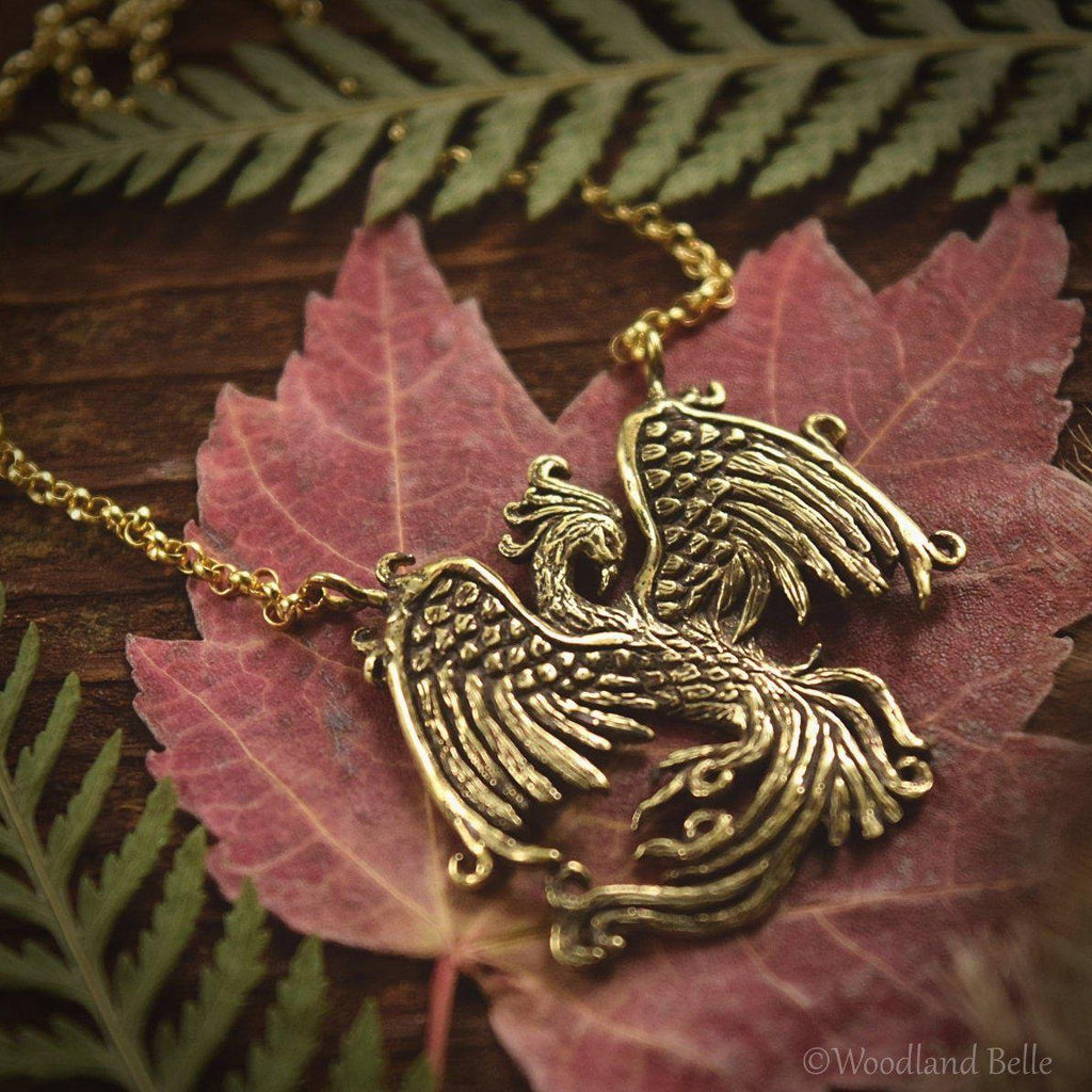 Phoenix Necklace - Gold Bronze Phoenix Rising Pendant - Firebird Necklace - Phoenix Bird Jewelry Gift - by Woodland Belle
