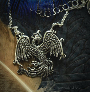 Phoenix Necklace - Sterling Silver Phoenix Rising Pendant - Firebird Necklace - Phoenix Bird Jewelry Gift for Women - by Woodland Belle
