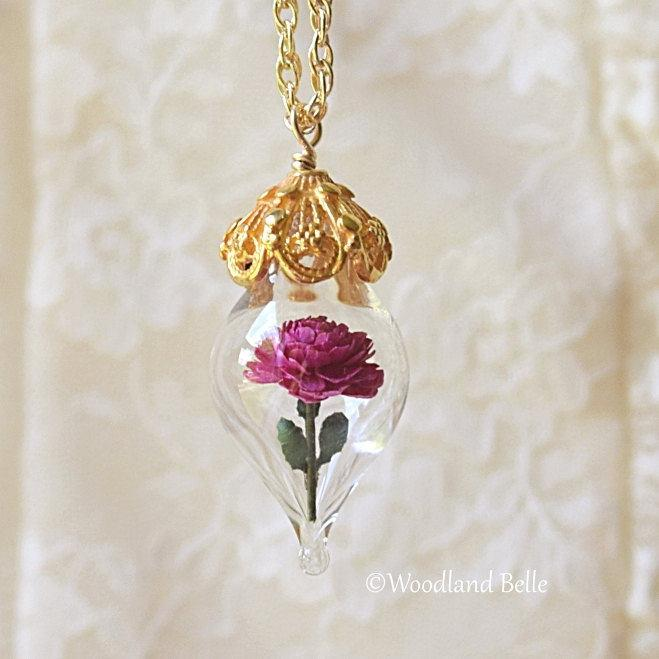Pink Peony Necklace - Gold Glass Flower Pendant - Personalized Gift / Wife, Anniversary - Gold/Sterling Silver/Rose Gold -By Woodland Belle