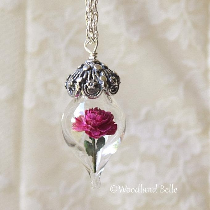 Pink Peony Necklace - Silver Glass Flower Pendant - Personalized Gift- Wife, Anniversary - Gold/Sterling Silver/Rose Gold -By Woodland Belle