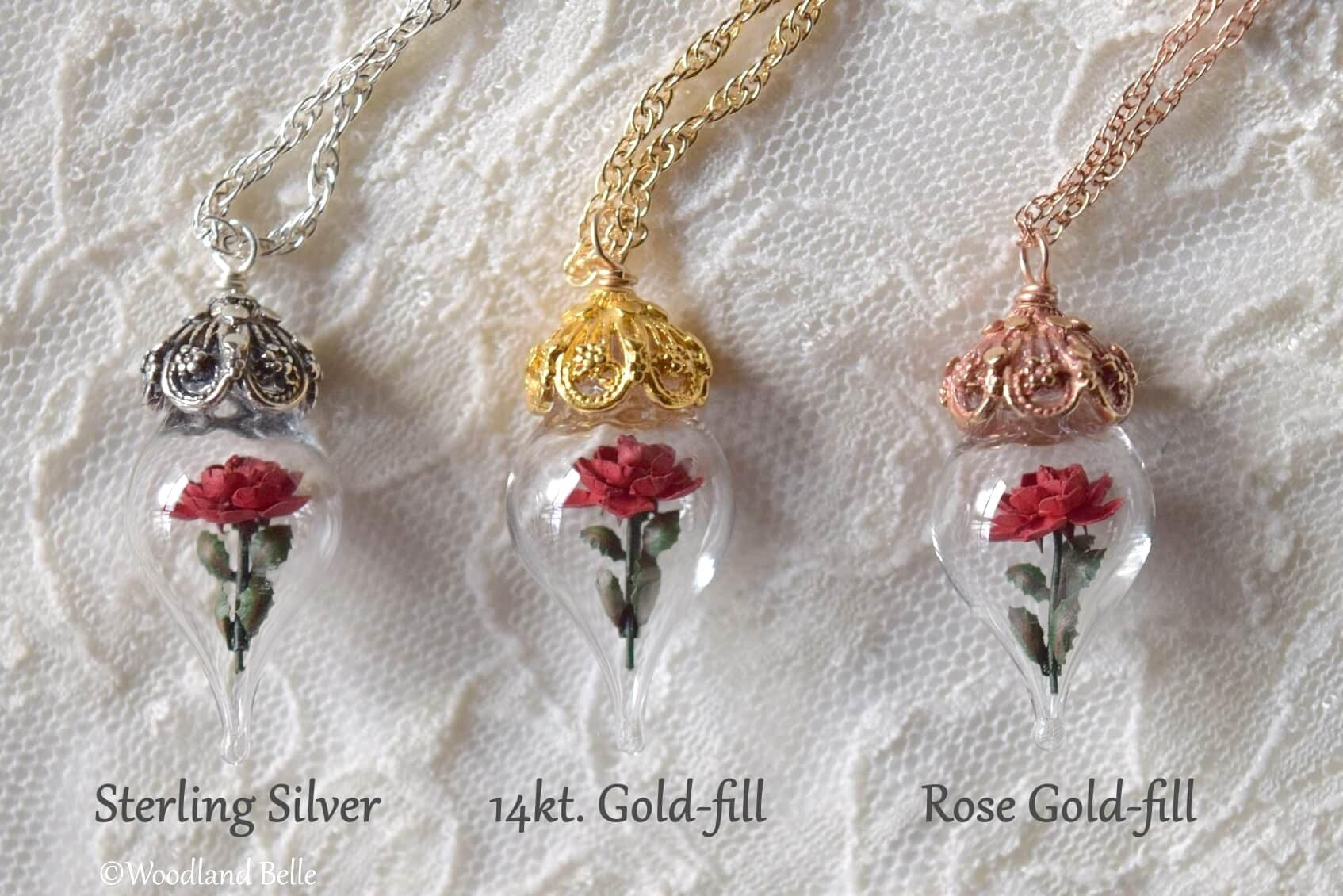 Pink Rose Necklace - Sterling Silver Glass Flower Pendant - Personalized Gift - Mother, Grandmother Gift - by Woodland Belle